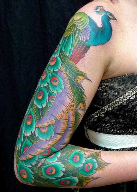 Bird tattoo tattoos by virginia elwood for Traditional peacock tattoo